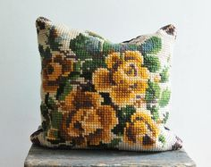 Vintage cross stitch pillow, hand embroidered pillow, yellow rose floral pillowcase,