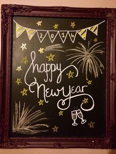 My New Year Chalkboard - Handlettering - wandbehandlung Chalkboard Doodles, Chalkboard Art Quotes, Blackboard Art, Kitchen Chalkboard, Chalkboard Decor, Chalkboard Drawings, Chalkboard Lettering, Chalkboard Designs, Hand Lettering