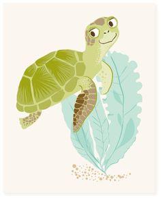 sea turtle - art print. $15.00, via Etsy.