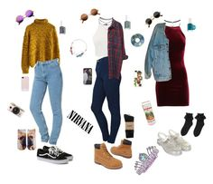 """""""90s Outfits"""" by stellaluna899 on Polyvore featuring Chicwish, Levi's, American Apparel, Monki, Timberland, Topshop, Wet Seal, Revo, Living Royal and HUF"""