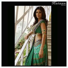 #Shilpa Shetty flaunting the sizzling GREEN saree