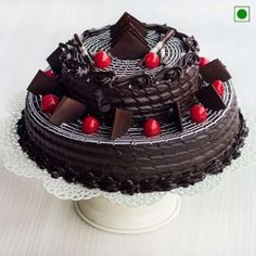 This Two tier chocolate cake is the best option to celebrate your Anniversary, Birthday or many other occasion, just click and book this yummy cake online in Delhi,Gurgaon,Noida or many other cities in India. Chocolate Cake Price, Chocolate Cake Designs, Chocolate Truffle Cake, Tasty Chocolate Cake, Dark Chocolate Cakes, Chocolate Truffles, Chocolate Lovers, Order Cakes Online, Cake Online