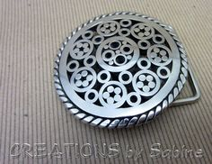 Handmade Steel Belt Buckle, Round Convex, Stainless Steel, Twisted Wire, Welded, Flowers READY TO SHIP