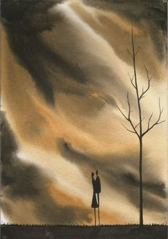 Original watercolour painting signed J Flavell. a5 Size lovers together 2