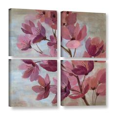 ArtWall Silvia Vassileva's April Blooms I 4 Piece Gallery Wrapped Square Set
