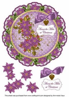 Purple Poinsettia Across Miles 8in Doily Decoupage Topper on Craftsuprint - Add To Basket!