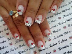 55 Modelos de Unhas Decoradas com bolinhas para te inspirar Fancy Nails, Pretty Nails, Manicure And Pedicure, Gel Nails, French Tip Acrylic Nails, Nail Tip Designs, Queen Nails, Valentine Nail Art, Polka Dot Nails