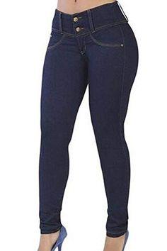 8eeae2c22ecd5 Elodiey Jeans Femmes Pantalons À Crayon Skinny La Mode Stretch Pantalon  Couleur Unie 20 Ans Bouton Poches Devant Jeans Jeans Pantalons (Color :  Marine Size ...
