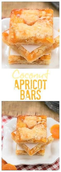 Coconut Apricot Bars - Scrumptious layered bars with coconut. - Apricot recipesCoconut Apricot Bars - Scrumptious layered bars with coconut, almonds and apricot preserves Baking Recipes, Cookie Recipes, Dessert Recipes, Baking Pan, Bar Recipes, Dessert Ideas, Apricot Recipes, Sweet Recipes, Apricot Ideas