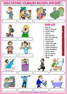 Resultado de imagen de daily routine worksheet