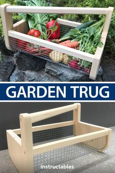 Build a tug basket from wood and metal garden fabric to collect and carry garden. Build a tug basket from wood and metal garden fabric to collect and carry garden flowers and produce. Great for taki Garden Basket, Garden Beds, Garden Cushions, Diy Garden Decor, Garden Crafts, Easy Garden, Diy Jardin, Outdoor Projects, Farm Projects