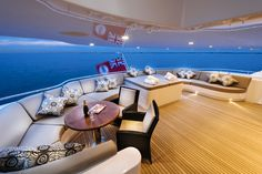 """The outdoor terrace and spa off the master bedroom onboard the wonderful private superyacht """"Zenith"""" designed by ID Studios Pyrmont"""