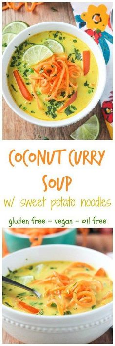 Coconut Curry Soup w/ Sweet Potato Noodles - Soup season is coming! This dairy free, gluten free, and oil free soup is quick and easy and just what you need to transition from summer to fall and take you all through the winter.