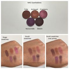 MAC cosmetics eyeshadows in folie, antiqued, cranberry, nocturnelle, and sketch swatches on dark skin