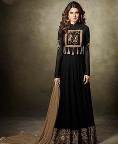 Look sensationally awesome in this Jennifer Winget black faux georgette floor length anarkali suit. This attire is beautifully adorned with embroidered and lace work. Comes with matching bottom and du. Black Anarkali, Anarkali Dress, Anarkali Suits, Black Abaya, Long Anarkali, Sharara Suit, Abaya Fashion, Indian Fashion, Fashion Dresses