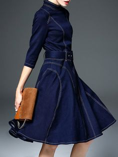 Dark Blue A-line Vintage Midi Dress