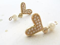 heart studs with pearls