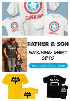 Father and Son Shirts for Dad and his Sidekick Father and Son Matching Shirt Sets – Mom vs the Boys. Fathers Day Shirts, Father And Son Shirts, Sons Day, Daddy And Son, Vinyl Shirts, Shirts For Teens, Matching Shirts, Disney Shirts, Cool Baby Stuff