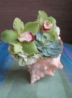 Shell centerpieces with orchids and succulents. Could be cute for tall standing tables, in bathrooms, or bar areas.