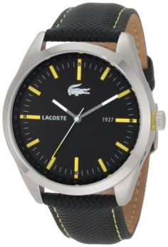 Men's Wrist Watches - Lacoste Montreal Black Dial Black Leather Mens Watch 2010596 * Want to know more, click on the image. (This is an Amazon affiliate link)