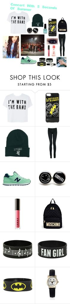 """Concert With 5 Seconds Of Summer"" by cillehauge ❤ liked on Polyvore featuring Monkee Genes, New Balance, Brinley Co, LORAC, adidas, Moschino, Geneva and Limedrop"
