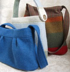 Upcycled sweater purses! These are super nice!