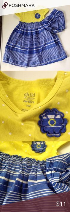 24m Carter's dress set yellow blue Yellow polka dot top and striped blue bottom comes with bloomers Carters Dresses