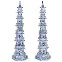 Tall Elegant Pair of Blue and White Chinese Export Style Pagodas | 1stdibs.com