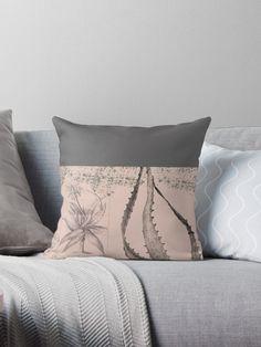 'Cactus in pink' Throw Pillow by Amanda D-Hay