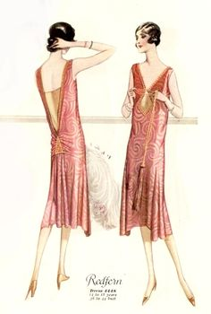 1926 fashion print -evening dress