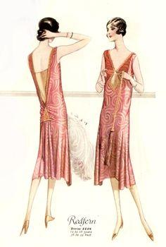 1926 fashion print -evening dress