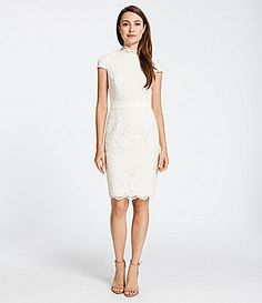 51d2754bbb75c Cynthia Steffe Neil Lace and FauxLeather Sheath Dress  Dillards Don t think  this would