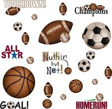 Sports 25 BiG Wall Stickers FOOTBALL BASKETBALL SOCCER Room Decor Ball Decals