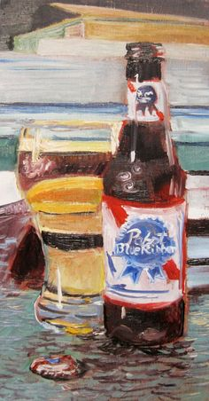 Beer Art Print of PBR  Pabst Blue Ribbon  by RealArtIsBetter, $35.00