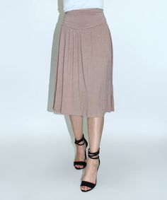 Loving this Taupe Midi Skirt on #zulily! #zulilyfinds