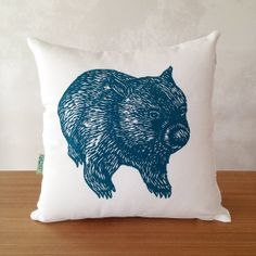 Wombat front and back cushion cover // australian animal cushion cover// wombat cushion cover