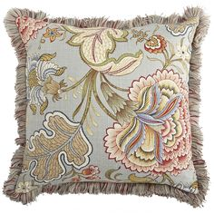 Floral Fringe Pillow - Blue Meadow   Pier 1 Imports