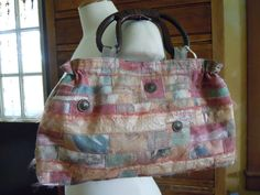 OOAK Womens Handmade Handbag, Rose Recycled Fabric Purse with Vintage Buttons   $69
