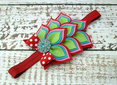 Felt Flower Headband Christmas Red Pink by SwankyPickleBoutique