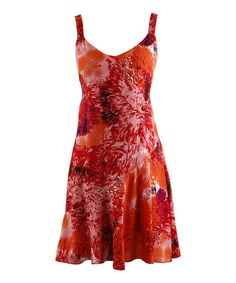 This Orange & Red Lush Abstract Sleeveless Dress by Peppermint Bay is perfect! #zulilyfinds
