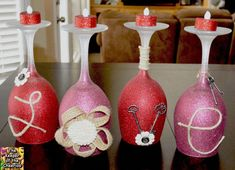 The Keeper of the Cheerios: Valentines Day Wine Glasses Valentines Day Wine, Valentines Day Decorations, Valentine Day Crafts, Easter Crafts, Christmas Decorations, Valentine Baskets, Valentine Wreath, Diy Wine Glasses, Painted Wine Glasses