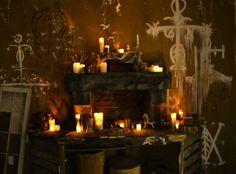 Nice scene by kstudio. Halloween Forum, Halloween 2015, Samhain Decorations, Voodoo Shop, Voodoo Hoodoo, Haunted House Props, Voodoo Dolls, Evil Spirits, Altar