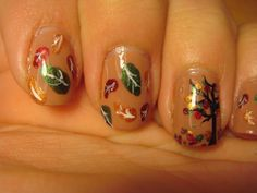 Fall leaves nail tutorial with video. Im obssesed with fall leaves, can you tell? Latest Nail Designs, Holiday Nail Designs, Holiday Nail Art, Fall Nail Art, Autumn Nails, Nail Art Designs, Nails Design, So Nails, Pretty Nails