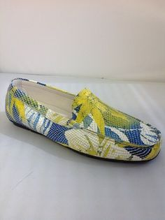1 Clarus 9852Q - T -  Clarus from Italy.  Snakeskin floral Moccasin style in Yellow and Pink.    Sizes range 36.5 - 41.