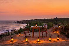 Honeymoon ideas: Sri Lanka or Bali. A private dining set up on the beach near Yala National Park on Sri Lanka Best Honeymoon Destinations, Honeymoon Spots, Honeymoon Ideas, Travel Destinations, Sri Lanka, Wanderlust, Island Nations, Park Homes, Romantic Getaway