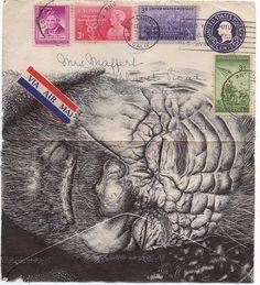Bic Biro on 1948 envelope. by mark powell bic biro drawings, via Flickr