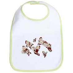 Christmas Bib  Six happy cherubs in Santa suits carrying boxes of good wishes. Dress yoru baby up for Christmas dinner!