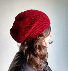 Valentine's Gifts, Winter Boho Oufits, Winter Outfits, Red Knit Hat Slouchy Beanie Red Knit Beanie Red by DragonflyStrand