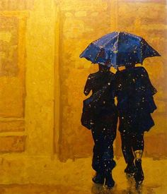 EVA LEWARNE Rain Friends, 2011 acrylic painting on stretched canvas Illustrations, Illustration Art, Umbrella Art, Blue Umbrella, Rain Painting, Rain Art, Parasols, Mellow Yellow, Blue Yellow