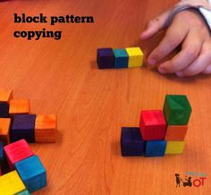 Title: Block Pattern Performance component: spatial relations Supplies: blocks Brief description: The OTA will make a stacked pattern with different colored blocks. The pt. will copy the stacked pattern with the same colors. Sequencing Activities, Activities For Kids, Occupational Therapy Activities, School Ot, Visual Memory, Camping Gifts, Create Website, Practical Gifts, Coping Skills